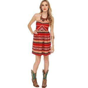 NWT - Roxy, Red Serape Strapless Dress - XS